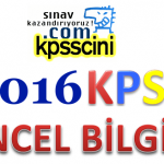 2016 KPSS Güncel Bilgiler Testi Online Çöz